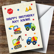 Digger Trucks Construction Cute Personalised Children's Birthday Greetings Card