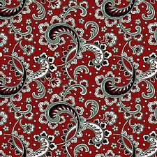 Fabric #2563, Black, White, Gray Paisley on Red, Henry Glass, Sold by 1/2 Yard