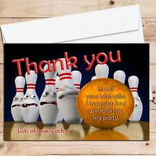 10 Personalised Tenpin Bowling Birthday Party Thank you Cards