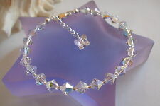 AB CRYSTAL BRIDESMAID BRACELET WITH BUTTERFLY HANDMADE STERLING SILVER GIFT