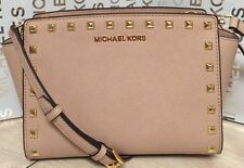 NEW Michael Kors Medium Stud Selma Blush Pink Saffiano Leather Crossbody Handbag