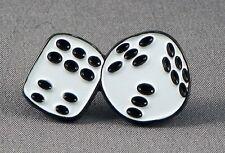 Metal Enamel Pin Badge Brooch Dice Die Roll Casino Throw White