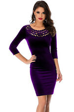 New Ladies Purple Hollow Out Round Neck Sleeved Velvet Dress Size UK 8-10
