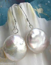 New Natural White Coin Freshwater Pearl Sterling Silver Hook Dangle Earrings