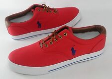 Polo Ralph Lauren Mens Sz 12 Vaughn Canvas Fashion Sneakers Red Shoes NEW