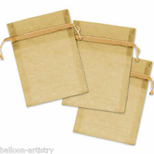 12 Wedding Party GOLD Glitter Organza Drawstring Favour Bags