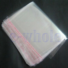 200pcs 16 x 24cm Clear Seal Sealable Poly Plastic Polyethylene PP Bags Flat DE