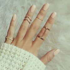 Fashion 6pcs / Set Gold Urban Rings Crystal Knuckle stacking Band Midi Mid Ring