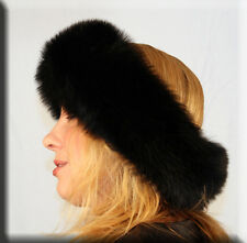 New Black Fox Fur Headband - Efurs4less- 5 Inches Wide and 26 Inches Long