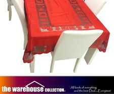 4 SET! RED CHRISTMAS XMAS TABLE CLOTH 150x265cm 8-10 SEAT RECTANGLE TABLECLOTH