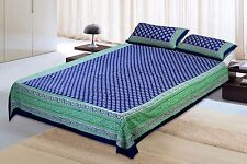 Indian Jaipuri Blue King Size New 100% Cotton Bed Sheet Pillowcase Cover Set