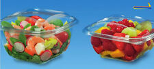 50 pcs Plastic Disposable Clear BOX Round Container Hinged Lid Salad 16oz SLR500