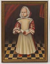 Williamsburg Style Folk Art Oil Painting of Alice Mason by George Maier