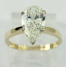 EGL diamond engagement ring 14K yellow gold solitaire VS2 pear brilliant 2.16CT!