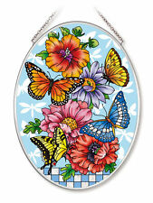 """AMIA STAINED GLASS SUNCATCHER 5.5"""" X 7"""" OVAL BUTTERFLY BLOSSOMS   #42554"""
