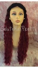 "100% Human Hair Blend Middle Part Wavy 1B/Burgundy 22"" Lace Front Wig"