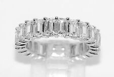 Sterling Silver Lab Diamond Eternity Emerald Cut Wedding Engagement Ring