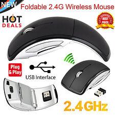 Sans fil 2,4 ghz pliable arc optique molette souris pour PC portable black1