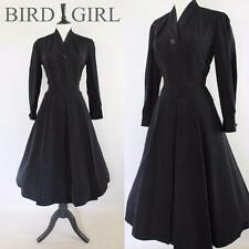 ORIGINAL 1940S 50S VINTAGE BLACK RAYON SWING NEW  LOOK CHIC DAY DRESS 10 S