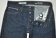 Gap 1969 Men's Dark Blue Slim Fit SELVAGE Denim Jeans 32X31 AWESOME EUC