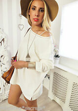 Vintage IBIZA PARIS CHIC Cream Boho knitted SLOUCHY Classic Jumper 10 12 14