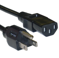 2 Units of 1 Ft 3 Prong IEC320C13 to NEMA 5-15P Standard Universal AC Power Cord