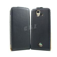 Black genuine leather case pouch for SONY Ericsson Xperia Ray ST18i o