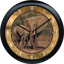 "Elephant Walk 10"" Clock African Safari Wild Animal Print Zoo Jungle African"