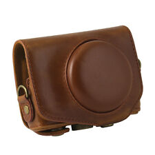 New PU Leather Camera Case Bag Cover for Canon G7X 1 Digital + Strap Brown
