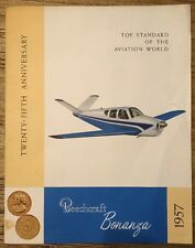 RARE LARGE COLOR 1957 BEECH BEECHCRAFT AIRCRAFT BONANZA PROMOTION SALES BROCHURE