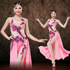 NEW Professional Belly Dance Performance Costume Gorgeous Mesh one-piece Dress
