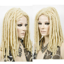 Dreadlock African Blonde Long Wig Rolls Curly Wavy Dreads Hair Costume Cosplay