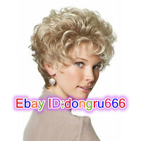 New women Lady Short Curly hair Blonde Wavy wig Cosplay Full Hair Wig/Wig cap
