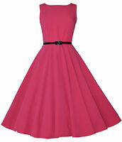 Vintage Retro 40's 50's Audrey Pink Mid Calf Rockabilly Swing Dress New 8 - 20