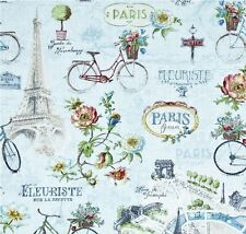 PARIS FOREVER ~ Eiffel Tower ~ Bicycles~ French Script ~ TRAVEL ~Fabric ~ 1/2 yd
