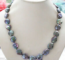 Natural 14MM Black Freshwater Coin Pearl Gems Beads Necklace 18'' AAA