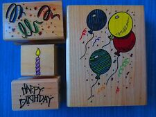 LOT 4 BIRTHDAY CELEBRATION BALLOONS rubber mounted wood stamps hero arts/more