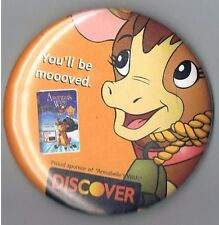 "Annabelles Wish Christmas Cow Movie 3"" Pinback Button Discover Card Advertising"