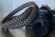NEW GRAY GREEN PARACORD CAMERA NECK STRAP DSLR MIRRORLESS CANON NIKON SONY 46""