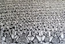 HUGE! Fritz Cedon Master Haitian Artist, Museum Quality Black and White Painting