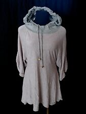 JUICY COUTURE sz L Gray Lavender HOODED Hoodie Jersey Baby Doll Long Shirt Top