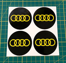 4 x 50mm ALLOY WHEEL STICKERS audi logo Yellow on Black centre cap badge