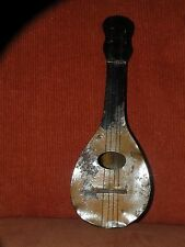 ANTIQUE TIN PAINTED STRIPED TOY CHILD'S MANDOLIN 11 3/4""