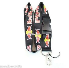 Red Bull Lanyard NEW Black - UK Seller - Car Keyring ID Holder Phone Strap