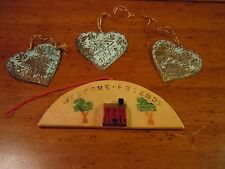 Vintage Christmas Ornaments / 3  Pressed Tin Hearts/ Wooden Welcome Friends