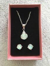 Oval White Fire Opal CZ Teardrop 925 Silver Pendant Necklace Earrings Set