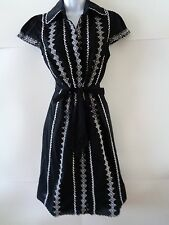 BCBG Maxazria black white floral embroidered button down shirt dress sz S