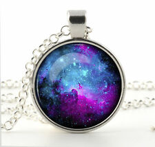 Vintage Galaxy Universe Cabochon Tibetan silver Glass Chain Pendant Necklace