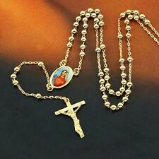 Lucky 9K Gold Filled Rosary Pray Bead Blessed Mary Cross Necklace 24""