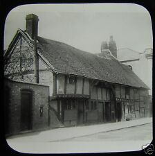 Glass Magic Lantern Slide STRATFORD UPON AVON COTTAGES NO3 C1910 ENGLAND